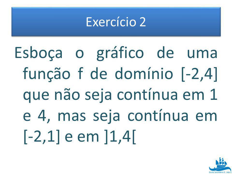 Exercício 2 Esboça o gráfico de uma função f de domínio [-2,4] que não seja contínua em 1 e 4, mas seja contínua em [-2,1] e em ]1,4[